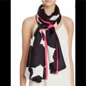 Kate Spade  Blot Dot Silk Scarf In  Black /White